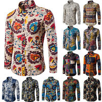 Fashion Men's Summer Casual Dress Shirt Boho Floral Long Sleeve Shirts Tops Tee