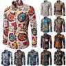 Herren Langarm Hemd Freizeithemd Slim Fit Shirt Tops Blumen Casual Bluse Hemden