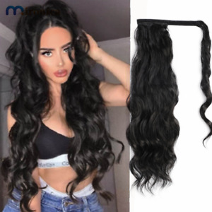Long Wavy Ponytail Human Hair Wrap On Clip in Hairpiece Black Wave Extension