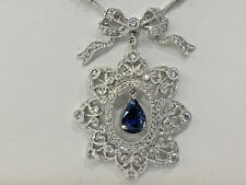 18k White Gold Necklace with Ceylon Sapphire and Diamonds 4.72 TCW .16 inches.