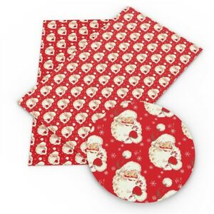 Christmas Red Santa Printed Leatherette Fabric A4 Sheets