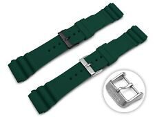 For SEIKO Watch Silicone Rubber ARMY GREEN Strap Band With Buckle Clasp 22mm