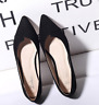 Women Pointed Toe Ballet Flats Slip on Suede Shoes Lady Stiletto Loafer ZHOU8