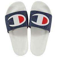 Mens Champion Logo Pool Sliders Shoes Slip On Pattern New
