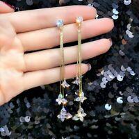 Fashion Long Tassel Crystal Earrings Women Butterfly Drop Dangle Ear Stud Xmas