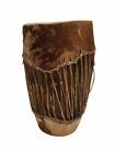 """Vintage HANDMADE Large Native American Cow Hide Wood Drum Almost 19"""" High"""