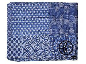 Indian Cotton Indigo Kantha Quilt Handmade King Size Bedding Bedspread Blue Rali