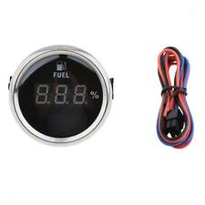 Marine Boat Digital Fuel Level Meter Gauge 0-190ohm 9V-32V 52mm Black Chrome
