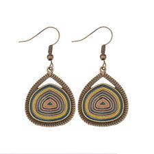Vintage Multicolor Water Drop Dangle Carved Women Gypsy Ethnic Earrings Tibet
