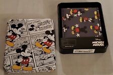 New in Collector Tin Disney Mickey Mouse Gray Bifold Wallet