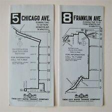 Lot of 2 Vintage Twin City Rapid Transit Bus Timetables Minneapolis St. Paul