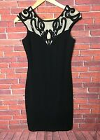 Lipsy Sequin Bodycon Black Dress Size 10 BNWT £60 RRP