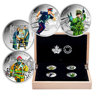 Canada 2016 - 4 x 15$  National Heroes Firefighter 4 Silver Coins Subscription