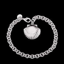 Women's Unisex 925 Sterling Silver Chain Sea Shell Charm Bracelet L64
