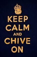 rare Keep Calm And Chive On M Shirt Halloween Pumpkin King Black Orange Costume