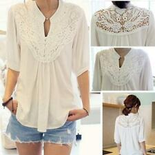 Women Casual Sheer Crochet Lace Top T Shirt Tee Party Peasant Blouse One Size LG