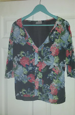 Ladies Next 3/4 sleeve grey/multi floral top - size 12