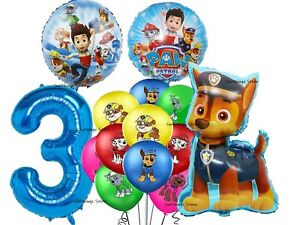 PAW PATROL CHASE BALLOONS 3rd Birthday Party 14 piece set UK SELLER Foil Latex
