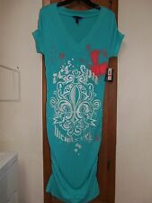 DEREON, Turquoise/White Ruched Dress From Beyonce's 2009 World Tour - Size XL Jr