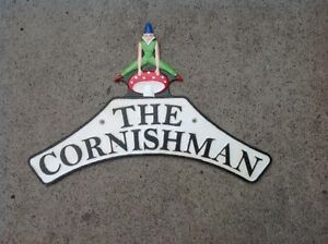 """Cast Iron Cornishman """"Pixie"""" railway reproduction wall plaque nameplate sign"""