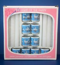 The Light Of The Party Petite Candle Holders w/ Candles Mini Bougeoir Porcelain