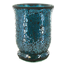 Turquoise Blue Mosaic Glass Hurricane Candle Holder