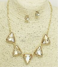 Gold and Topaz Triangle Crystal Necklace Set