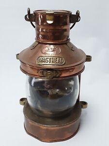 Tung Woo Masthead Copper Nautical Lantern Oil Clear Glass Reflector Lamp