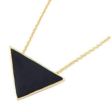 Black Enamel Gold Tone Geometric Triangle Necklace Long Chain - Hipster