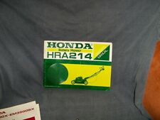 Honda HRA214 Rotary Mower Owners Manual Rare HRA 214 Lawnmower Push X3C