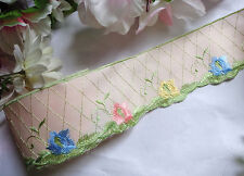 Embroidered Pale Pink Satin trim 2 1/4 inches wide 1 yard and 10 inch cut