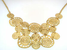 "Sand Dollar Matte Gold Bibb 16.5"" Necklace with Gold Filigree discs"