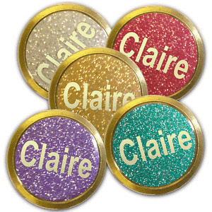 Best Impressions Personalised Glitter Effect Golf Ball Markers in a Pack of 5