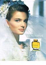 PUBLICITE ADVERTISING 054  1990  ESTEE LAUDER  pafum BEAUTIFUL 2