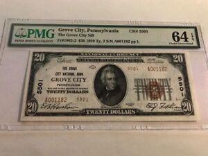RARE HIGH GRADE 1929 $20 Grove City Pennsylvania PA #5501 TYPE 2 PMG 64