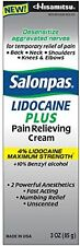 Salonpas LIDOCAINE PLUS Cream! Maximum Strength 4% Lidocaine Numbing 3 oz