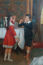 "perfect oil painting handpainted on canvas ""a girl and a boy"""