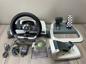Xbox 360 Wireless Force Feedback Racing Wheel, Pedals, Mount, Power Supply Cable