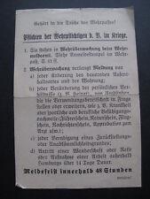 Einlegeblatt pour Wehrpass Pflichten de Wehrpflichtigen D. R. dans Guerre
