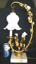 Hollywood Regency Porcelain Flowers Hand Blown Glass Shade Gold Gilt Metal Lamp.