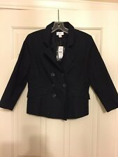 NWT, Ladies, Ann Taylor Loft, Black, Lined Double Breasted Jacket, Size 8