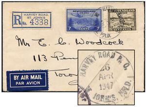 NEWFOUNDLAND 1947 1-RING HARVEY ROAD P.O. AIR REGD-TORONTO
