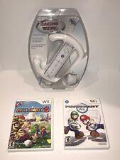 MARIO Nintendo Wii Game Lot Mario Kart, Mario Party 8, Steering Wheel