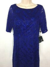 Adrianna Papell Women's Dress 6 Stretch Lace Shirred Gown Neptune Blue Beaded