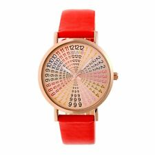 Crayo Fortune Women's Rainbow Dial Red Band Rose Gold Watch CR4305