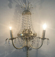 Vintage Mid Century Brass Crystal Prism Wall Sconce Chandelier Light Lamp