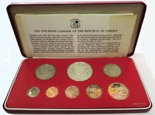 1978 SILVER LIBERIA COINAGE 8 COIN PROOF SET ORIGINAL PACKAGING -FRANKLIN MINT