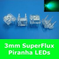 S574 - 20 Stück LED 3mm grün SuperFlux Piranha 80° LEDs green