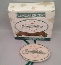 Longaberger Green / White / Gold Congratulations Tie On