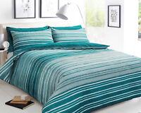 Texture Stripe Teal Luxury Reversible Duvet Cover Bedding Set All Sizes